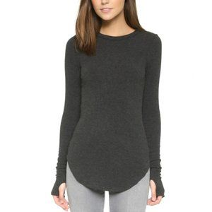 LNA Sloane Long Sleeve Ribbed Knit Gray Top | S